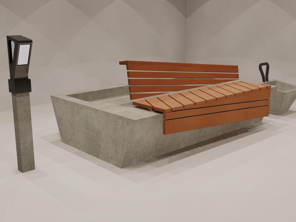 Väikevorm, pink, istutuskast, valgusti, prügikast, disain, kujundus, idee, betoon, puit, render